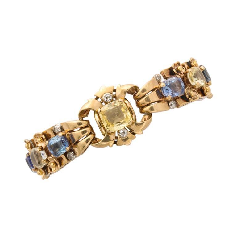 Cartier London Retro Multi-Color Sapphire Diamond Gold Bracelet For Sale