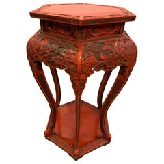 Post War Chines Red Lacquer Carved Wood Cinnabar Stand