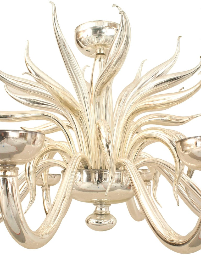 Post-War Design Italian Venetian Murano silvered glass chandelier with multiple scroll 8 arms and multiple scrolls emanating from a center shaft with a final and bowl bottom.