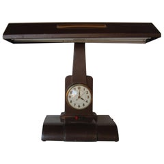 Post War Fluorescent Desk Lamp with Clock by Telechron