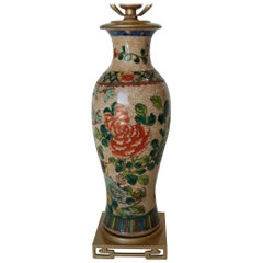 Post War Hand Painted Asian Floral Ceramic Table Lamp