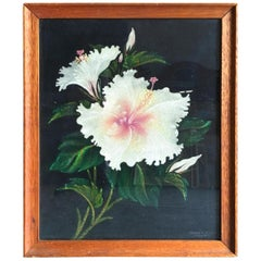 Post War Hawaiian Airbrush Hibiscus Floral on Velvet in Wood Frame, Signed Frank