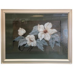 Postwar Hawaiian Airbrush Tropical Hibiscus Floral in White Wood Frame, Signed
