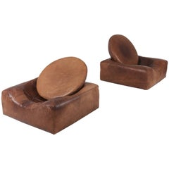 Post-War Modern Leather Lounge Chairs