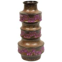 Post-War Scheurich Purple Ceramic Zig Zag Vase
