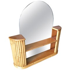 Post War Rattan Vanity Table Console Mirror with Shelf