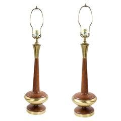 Post War Scandinavian Teak and Brass Table Lamps