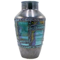 Post-War West Germany Blue and Black Drip Glaze Vase