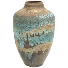 Post-War West Germany Blue and Orange Ceramic Lava Vase