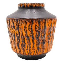 Post-War West Germany Orange Carstens Fat Lava Vase