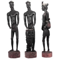 Post World War II Monumental African Ebonized Carved Sculpture