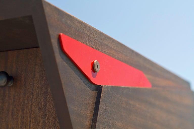 Metalwork Postale Mailbox in Oiled and Waxed Honduran Mahogany, Wooda Original For Sale