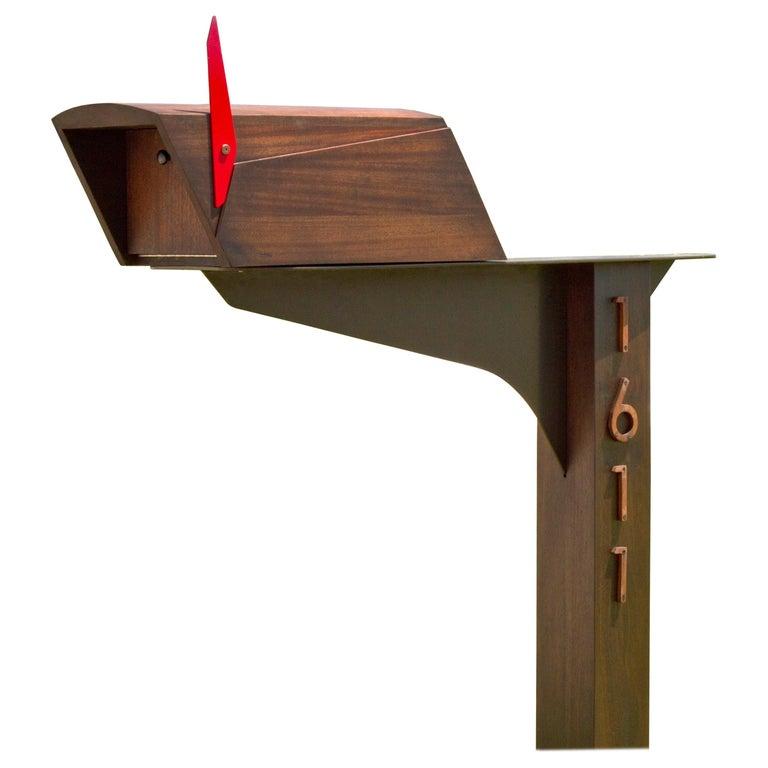 Postale Mailbox in Oiled and Waxed Honduran Mahogany, Wooda Original For Sale