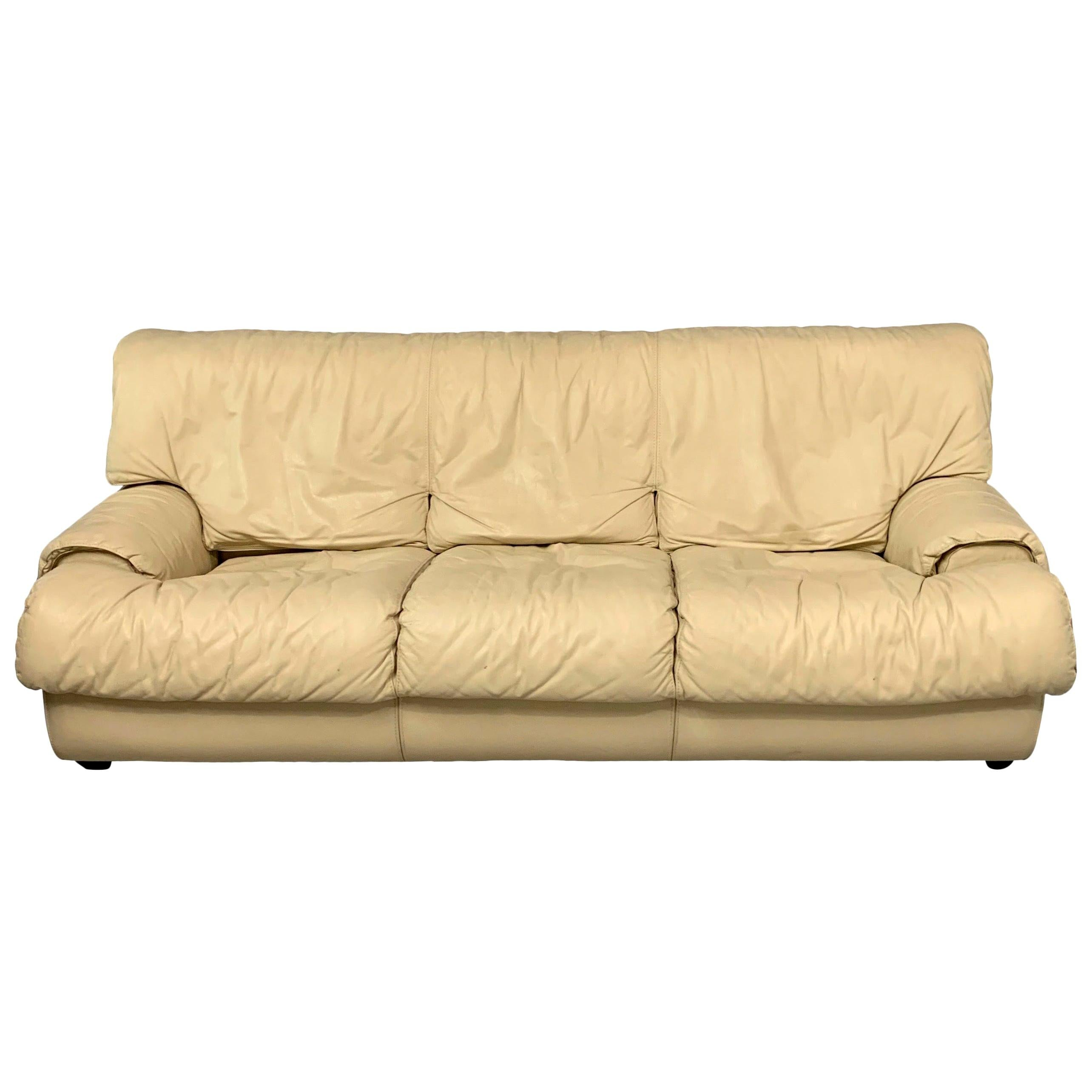 Postmodern 1980s Sofa by Roche Bobois in Draped Soft Leather