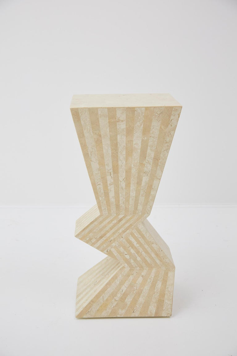 Post-Modern Postmodern 29 in. Striped Tessellated Stone Pedestal, 1990s For Sale