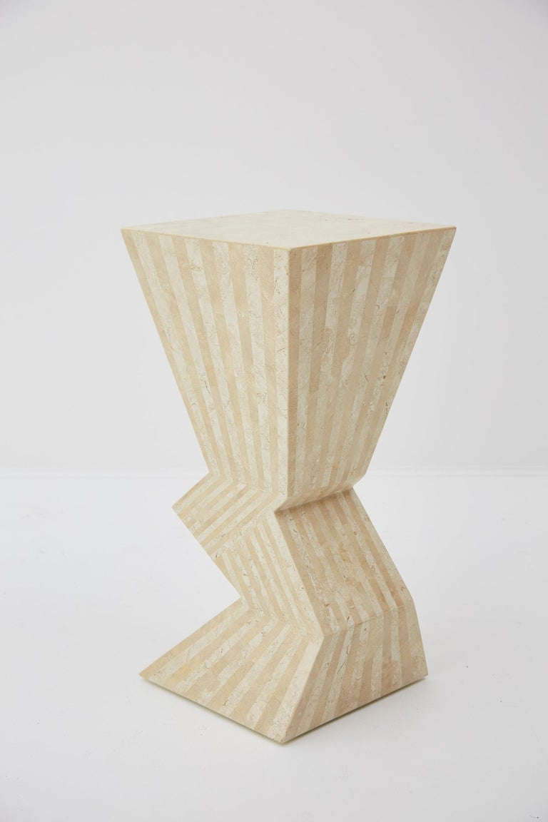 Philippine Postmodern 29 in. Striped Tessellated Stone Pedestal, 1990s For Sale