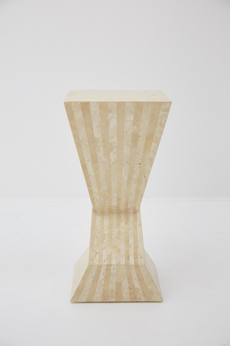 Inlay Postmodern 29 in. Striped Tessellated Stone Pedestal, 1990s For Sale