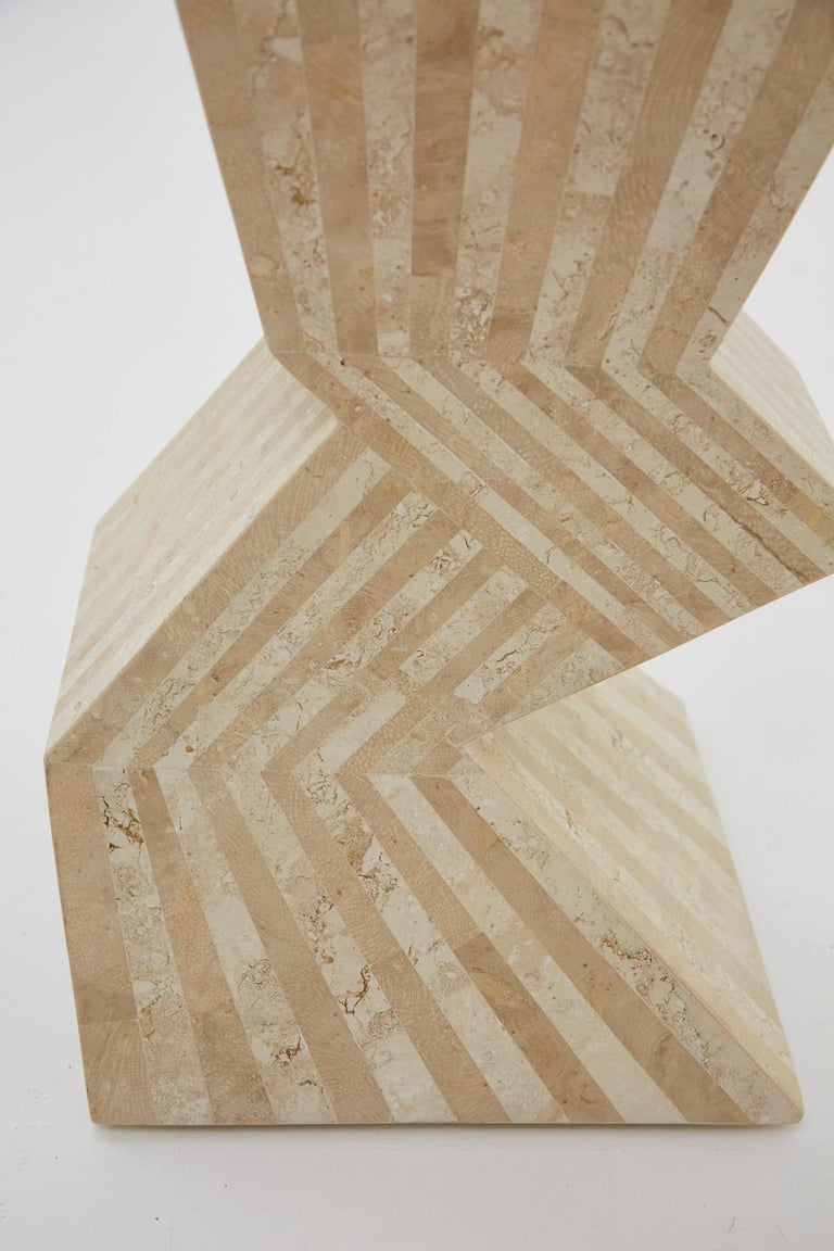 Postmodern 29 in. Striped Tessellated Stone Pedestal, 1990s In Excellent Condition For Sale In Los Angeles, CA