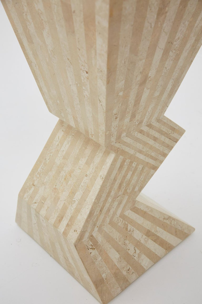 Late 20th Century Postmodern 29 in. Striped Tessellated Stone Pedestal, 1990s For Sale