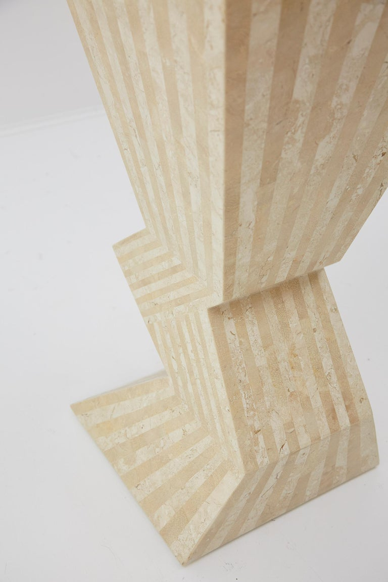 Postmodern 29 in. Striped Tessellated Stone Pedestal, 1990s For Sale 1