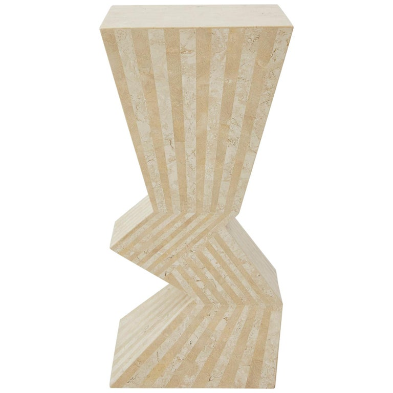 Postmodern 29 in. Striped Tessellated Stone Pedestal, 1990s For Sale