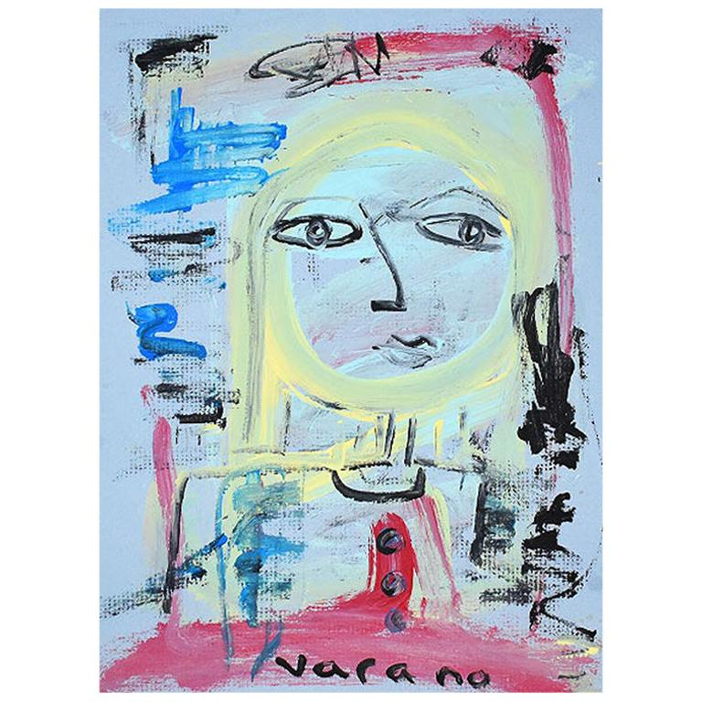Postmodern Abstract Cubist Portrait Painting of a Woman on Blue