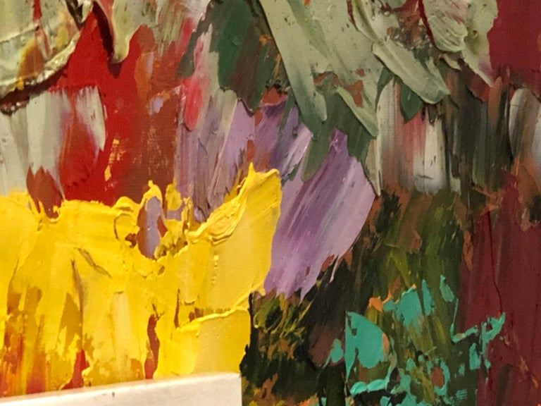 American Postmodern Abstraction oil on canvas, Arnold Schreibman, 1991, Red yellow green For Sale