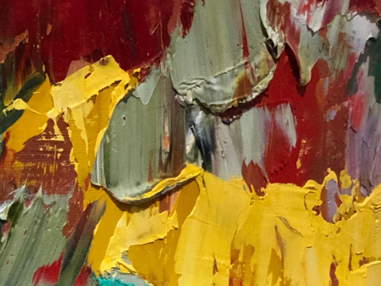Mid-Century Modern Postmodern Abstraction oil on canvas, Arnold Schreibman, 1991, Red yellow green For Sale