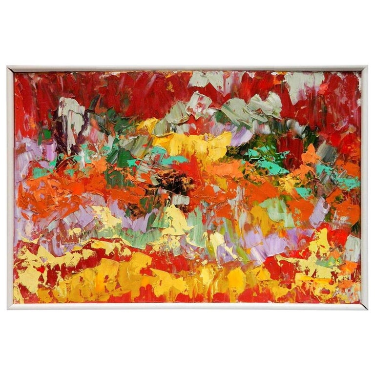 Postmodern Abstraction oil on canvas, Arnold Schreibman, 1991, Red yellow green For Sale