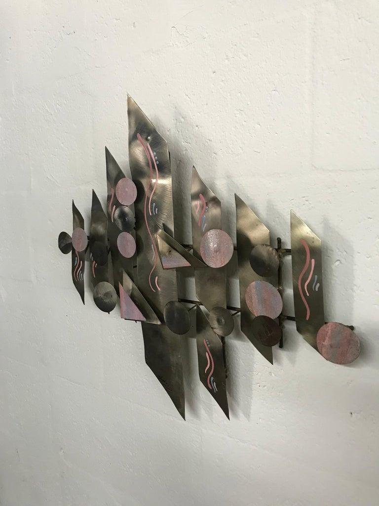 Post-Modern Postmodern Aluminium Wall Sculpture, Signed For Sale