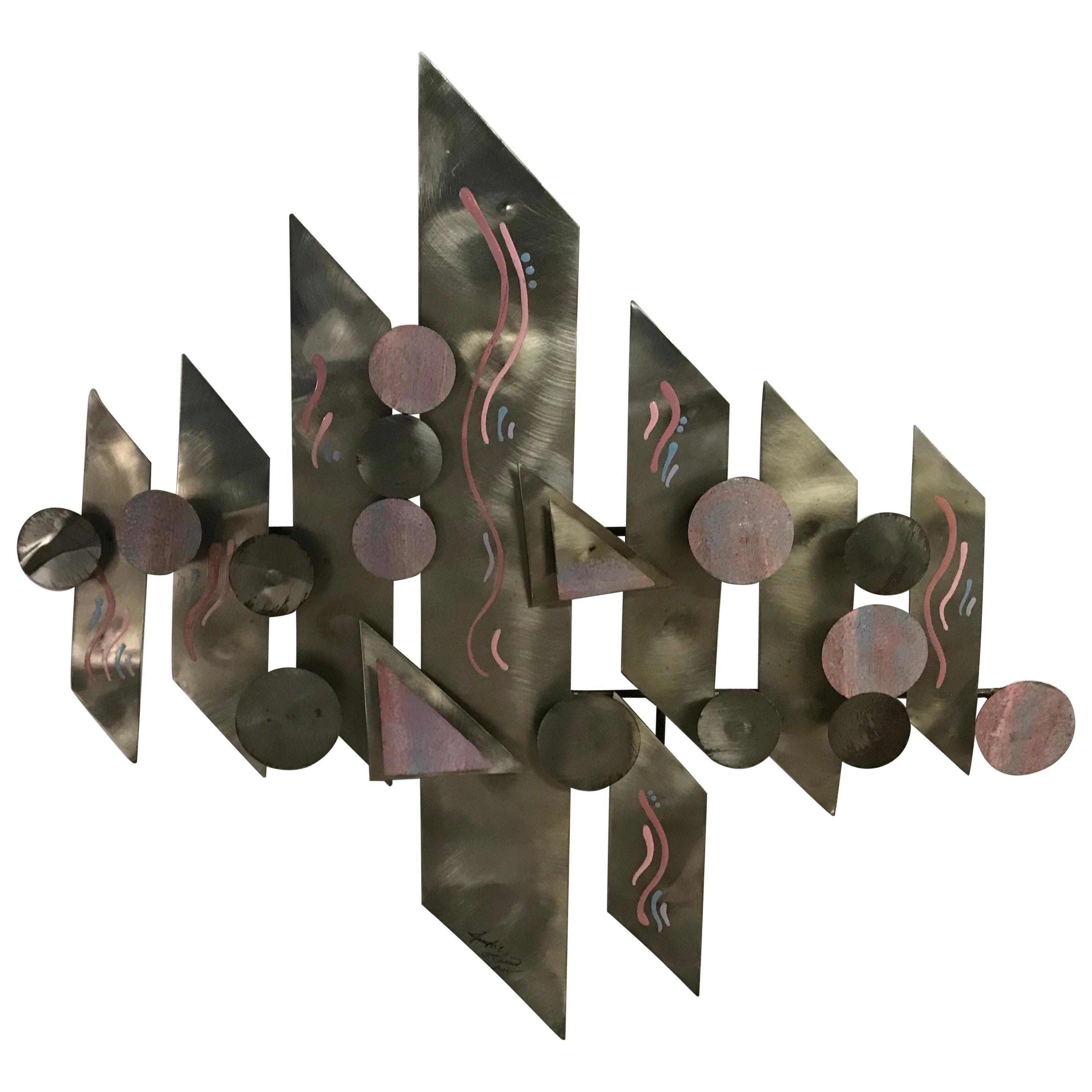 Postmodern Aluminium Wall Sculpture, Signed