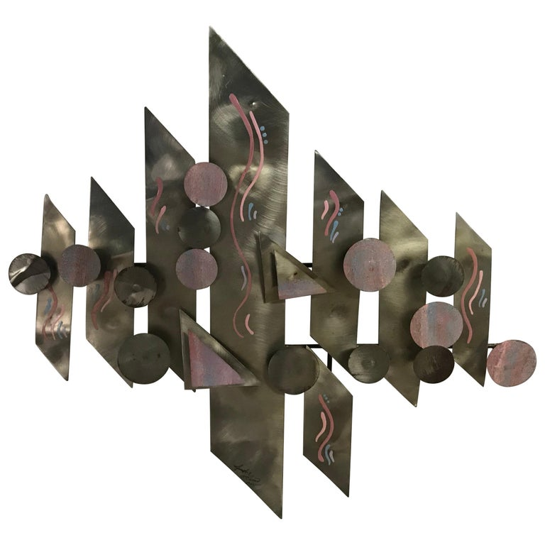 Postmodern Aluminium Wall Sculpture, Signed For Sale