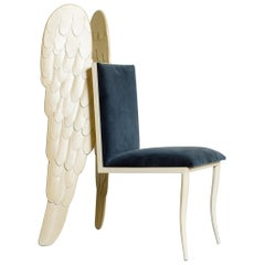 Postmodern Angel Wing Chair with Blue Velvet Upholstery, circa 1980s