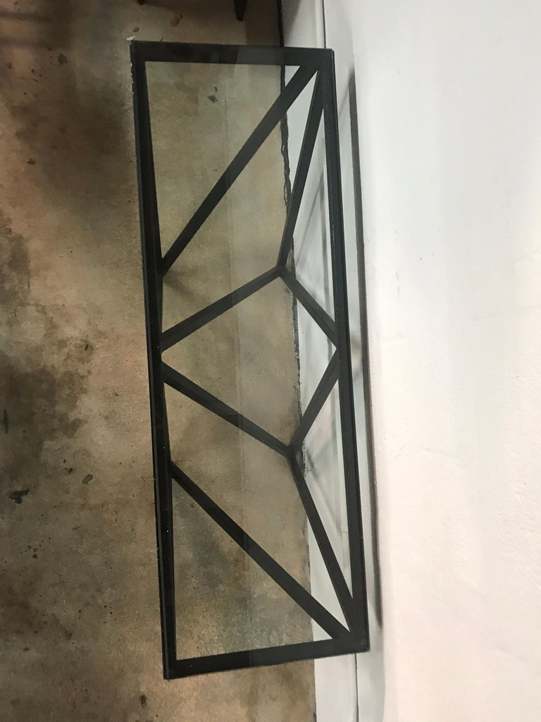 Postmodern Architectural Black Steel and Glass Console or Sofa Table For Sale 4