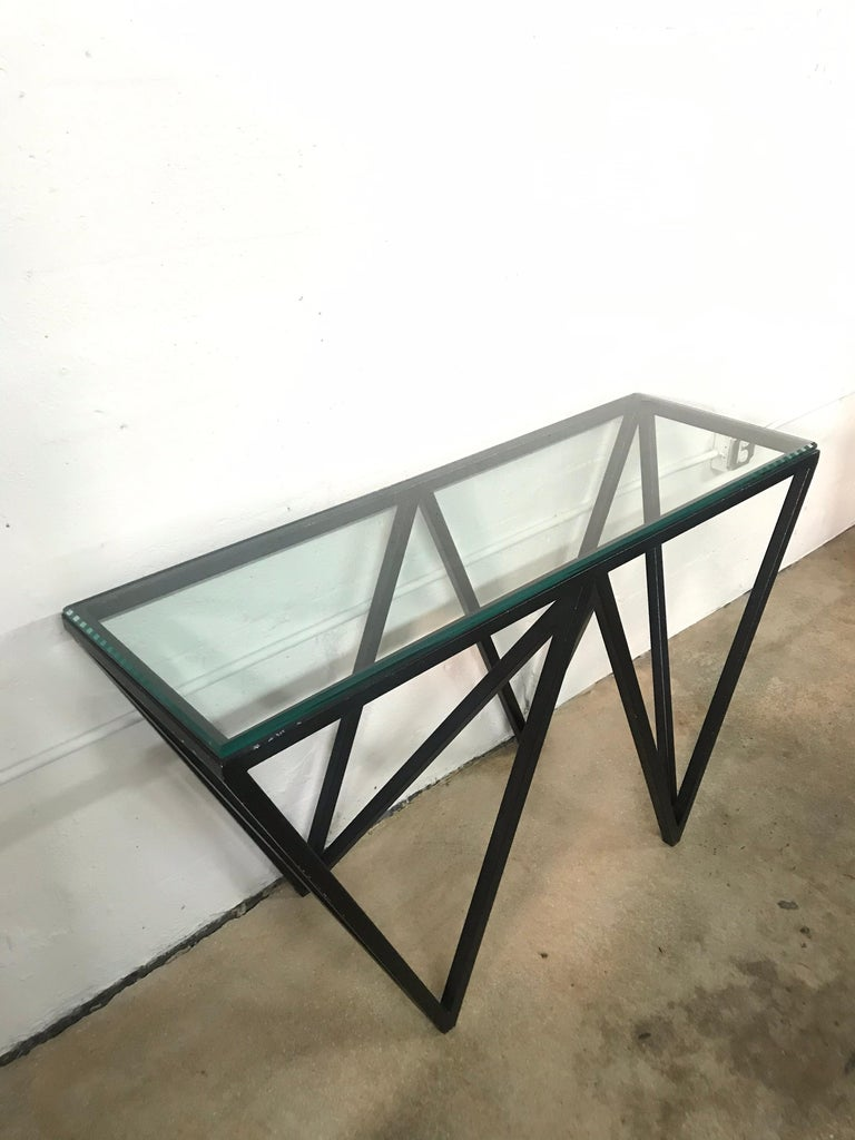 Post-Modern Postmodern Architectural Black Steel and Glass Console or Sofa Table For Sale
