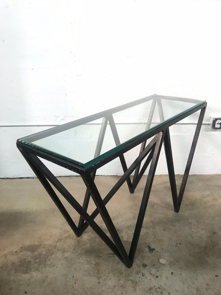 American Postmodern Architectural Black Steel and Glass Console or Sofa Table For Sale