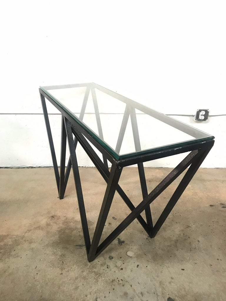 Postmodern Architectural Black Steel and Glass Console or Sofa Table In Good Condition For Sale In Miami, FL