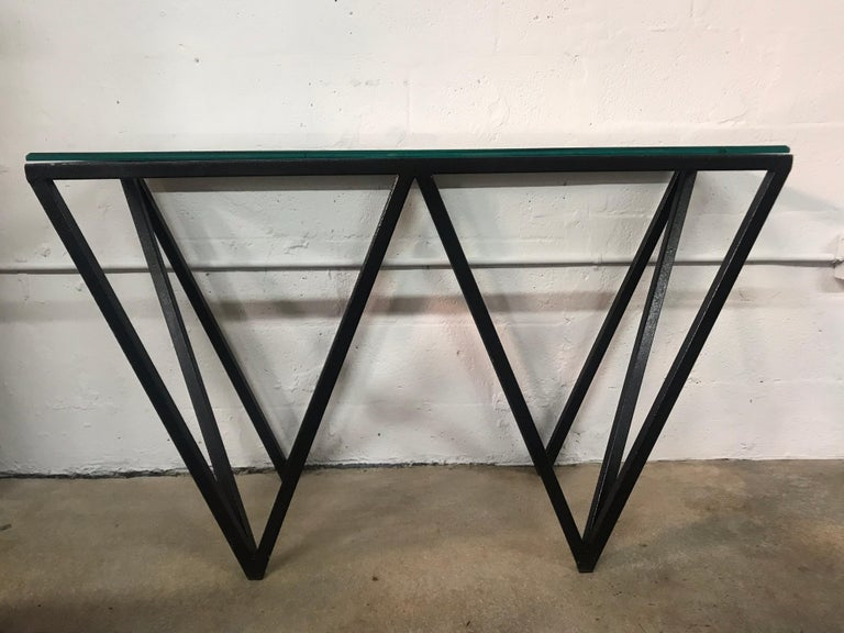 20th Century Postmodern Architectural Black Steel and Glass Console or Sofa Table For Sale