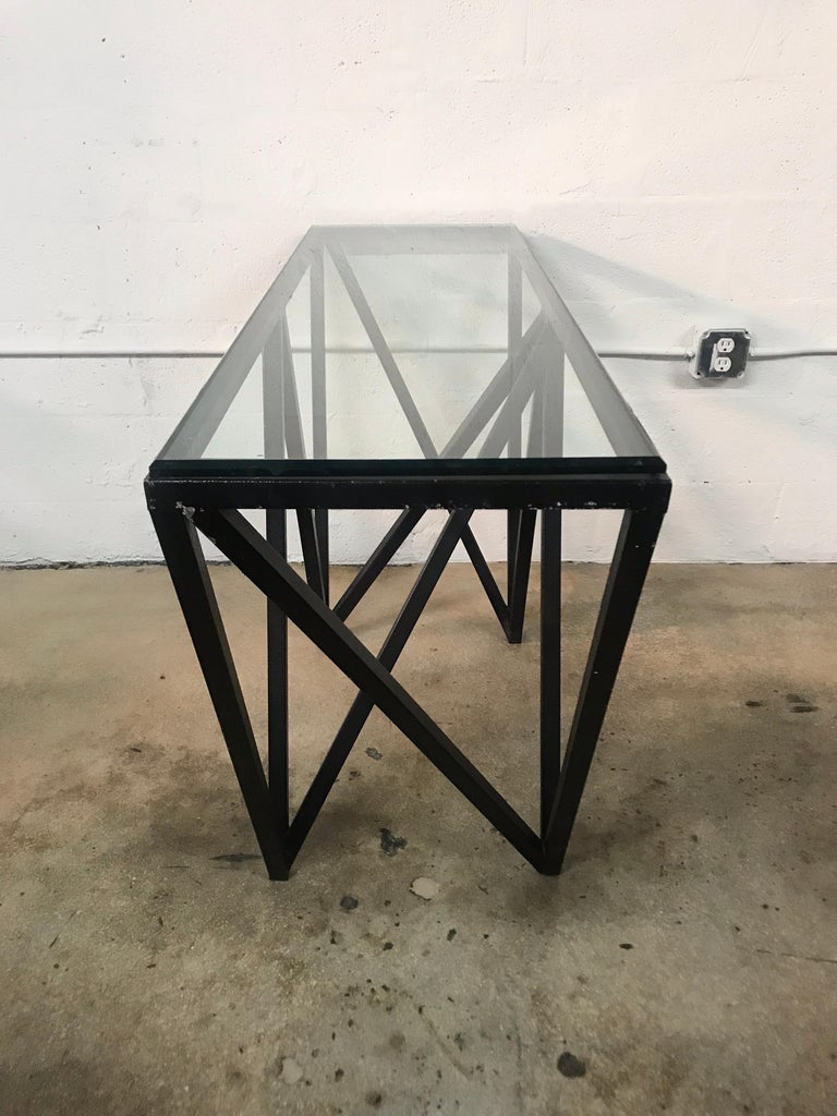 Postmodern Architectural Black Steel and Glass Console or Sofa Table For Sale 1