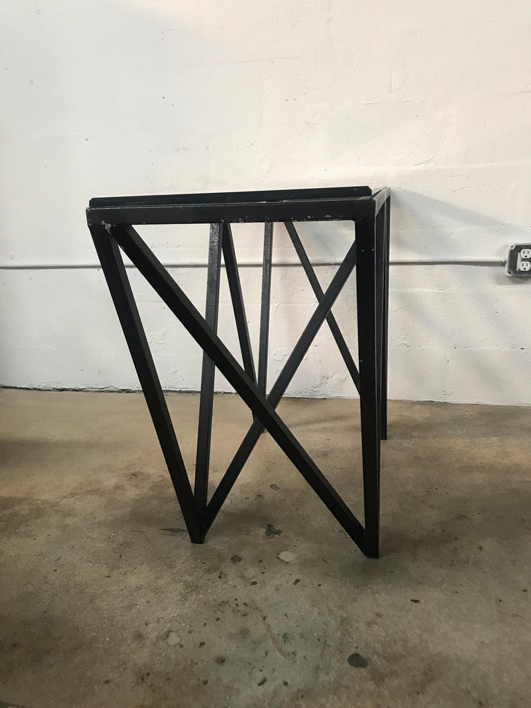 Postmodern Architectural Black Steel and Glass Console or Sofa Table For Sale 2