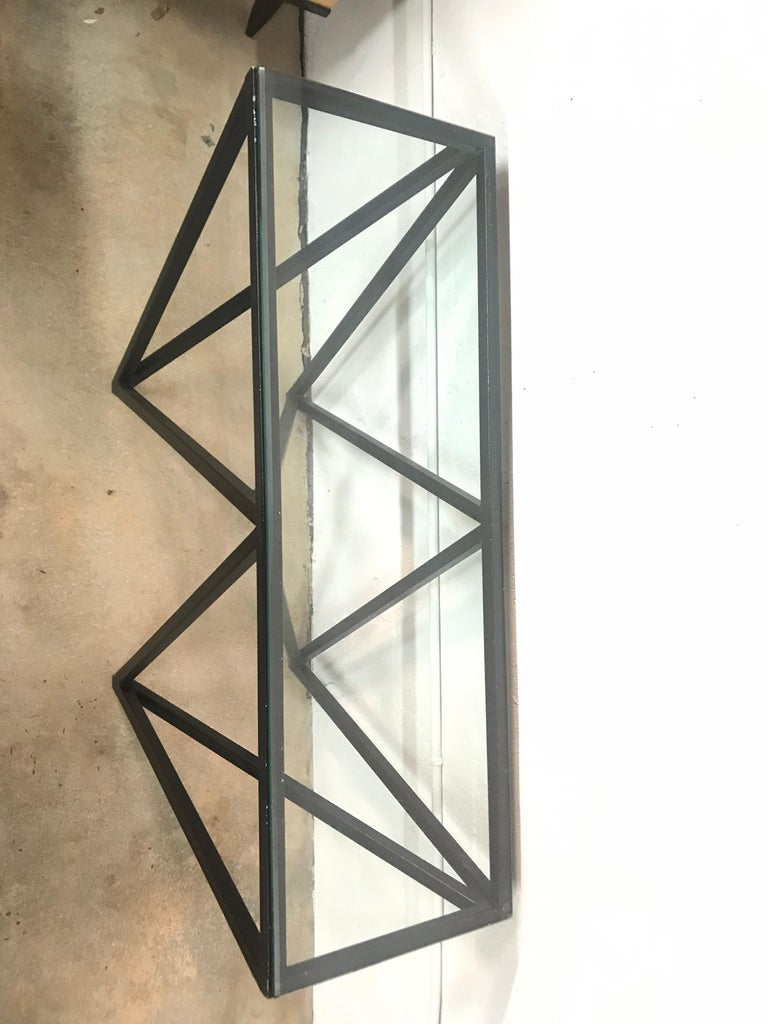 Postmodern Architectural Black Steel and Glass Console or Sofa Table For Sale 3