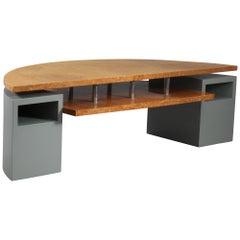 Postmodern Architectural Root Veneer Coffee Table Desk Arch. Wieser, Vienna