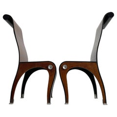 Postmodern Art Deco Style Artisan Burr Walnut Veneered Plywood Chairs, Set of 2