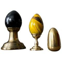 Postmodern Art Glass and Brass Egg & Holster Set, Memphis Inspired