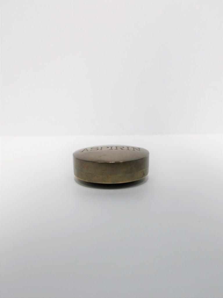 Post-Modern Postmodern 'ASPIRIN' Brass Pill Box, ca. 1970s For Sale