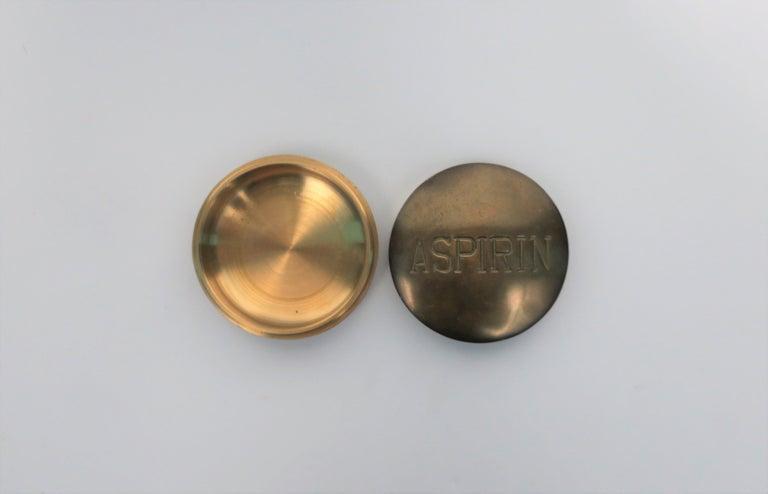 Hand-Crafted Postmodern 'ASPIRIN' Brass Pill Box, ca. 1970s For Sale