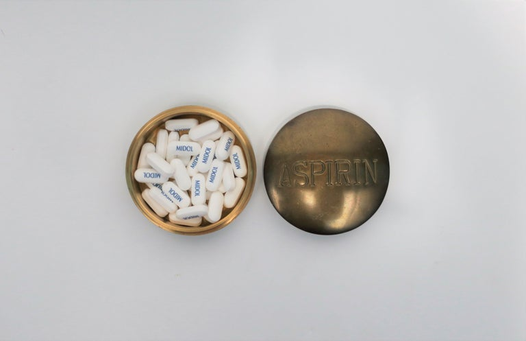 Postmodern 'ASPIRIN' Brass Pill Box, ca. 1970s In Good Condition For Sale In New York, NY