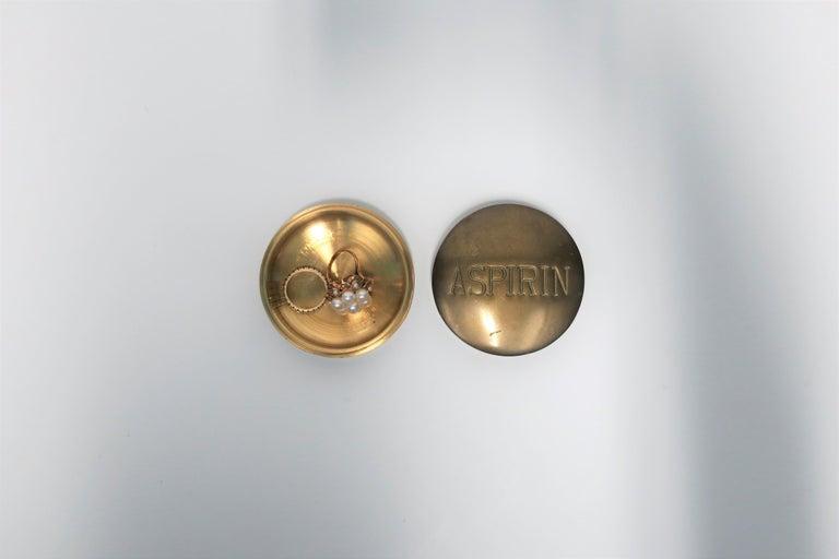 Late 20th Century Postmodern 'ASPIRIN' Brass Pill Box, ca. 1970s For Sale