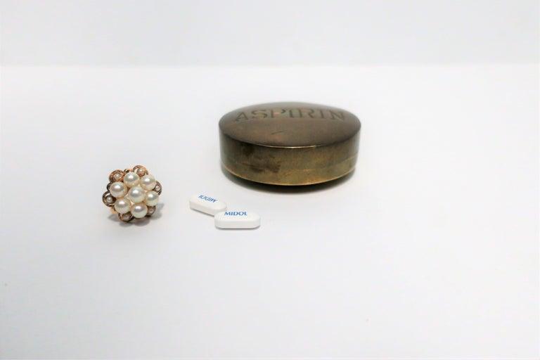 Postmodern 'ASPIRIN' Brass Pill Box, ca. 1970s For Sale 2