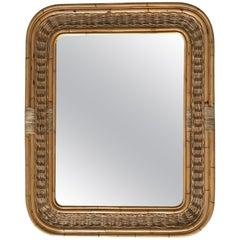 Postmodern Bamboo Wicker Rattan Mirror